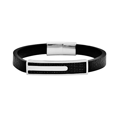 Geoffrey Beene Men's Genuine Leather and Stainless Steel Bracelet with Carbon Fiber ID, Silver (Steel Bracelets And Stainless Leather Mens)