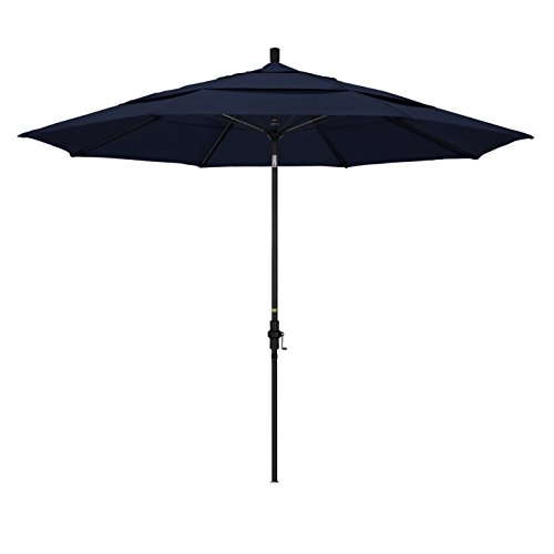 California Umbrella 11' Round Aluminum Pole Fiberglass Rib Market Umbrella, Crank Lift, Collar Tilt, Black Pole, Navy Blue Olefin