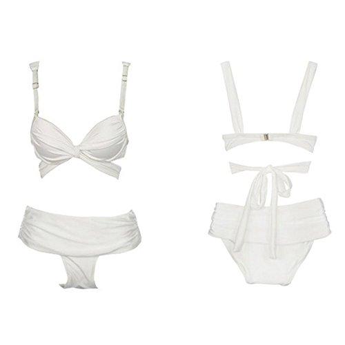 Blidece Sexy 2PCS High Waist Swimwear Swim Bikini Swimsuit Bandeau Push-up Top Hipkini Bottom White M