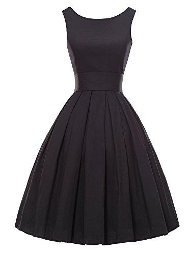 LUOUSE Sommer Damen Ohne Arm Kleid Dress Vintage kleid Junger abendkleid,Black,S