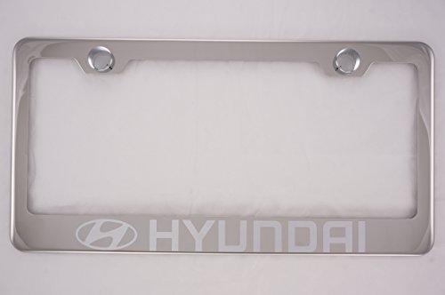 Hyundai Chrome License Plate Frame with Caps