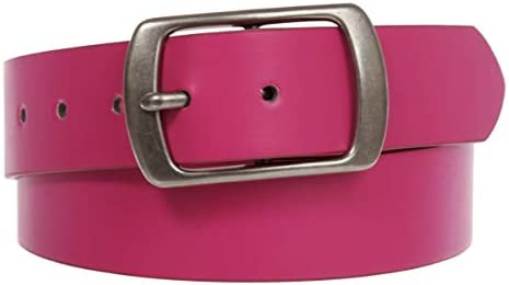 Women Casual Genuine Leather Dress Belt With Square Single Prong Buckle