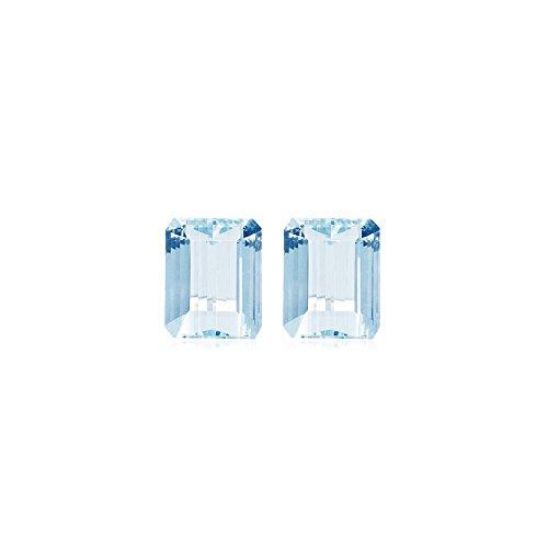 (1.01-1.38 Cts of 6x4 mm AA Emerald cut Natural Aquamarine ( 2 pcs ) Loose Gemstone)
