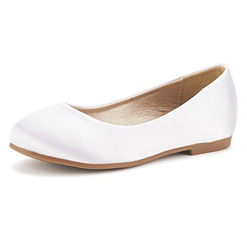 White Ballerina Flat Shoe - DREAM PAIRS Little Kid Muy White Satin Girl's Mary Jane Ballerina Flat Shoes - 11 M US Little Kid