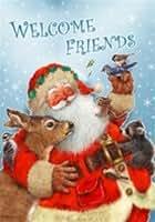 Santa 's Friends–con texto Welcome friends–Tamaño Grande 28pulgadas X 40pulgadas decorativo Bandera