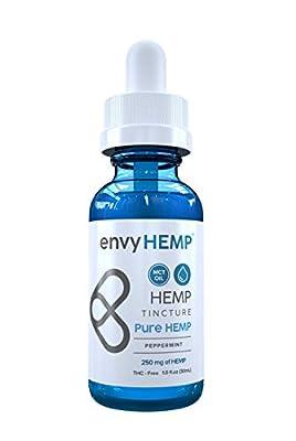 Envy Hemp Peppermint Hemp Oil - Hemp Extract for Pain, Stress, Inflammation and Anxiety Relief - Improve Sleep, Skin and Hair - Organic Vegan Hemp Isolate - USA Grown - for Daily Use