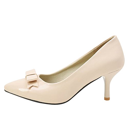 Mee Shoes Damen süß mit Schleife spitz Kitten heel Lackleder Pumps Nackt-farbe
