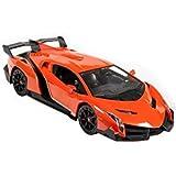 Orange Lamborghini Veneno Battery Operated Remote Control Car –Kids Favorite Toy -1/14 Scale RC