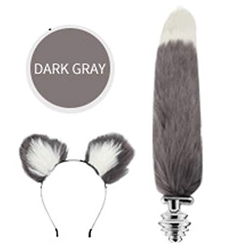 Fashion Dress Up Pretended Games Play Party Toy Love Gift Costume Set- Metal Fox/Dog Tail Plug+Short Plush Ears Cat Women Headdress -