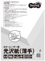 (まとめ) TANOSEE カラーレーザープリンター用 光沢紙 薄手 A4 1冊(250枚) 〔×10セット〕