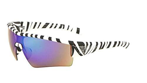 Gnarly Half Rim Sport Semi Rimless Wrap Around Sunglasses (Zebra Print Frame, Blue/Green Flash Mirror ()