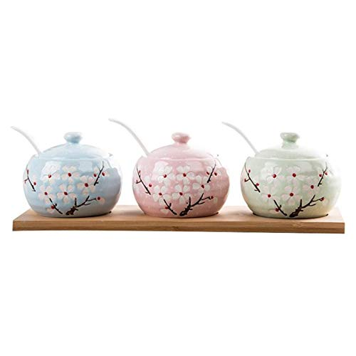 Best Quality - Spice & Pepper Shakers - Three-piece Flower Embossed Porcelain Container Pottery Pot Spice Jar with Lids Serving Spoon Wooden Tray for Seasoning Sugar - by XuanGroup - 1 PCs from XuanGroup