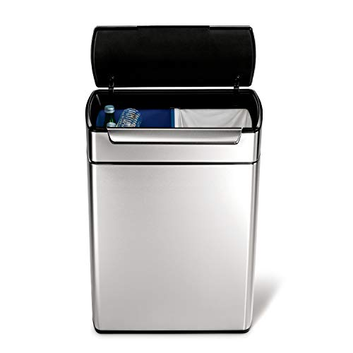 simplehuman 48 Liter / 12.7 Gallon Stainless Steel Touch-Bar Kitchen Dual Compartment Trash Can Recycler, Brushed Stainless Steel, - Cans Recycling Trash