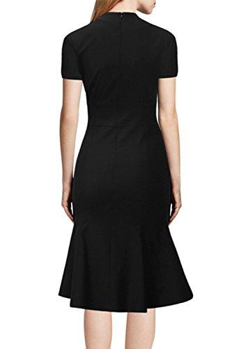 Elegante manga corta fiesta Bodycon Vestido de la mujer Black