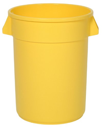 Continental Round Trash Can - Continental 3200YW 32-Gallon Huskee LLDPE Waste Receptacle, Round, Yellow