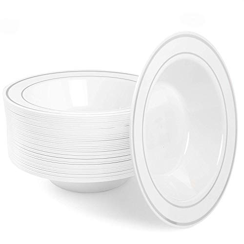 (12oz Plastic Bowls Set of 50 - White Silver Rim 12 oz Disposable Bowl Pack)