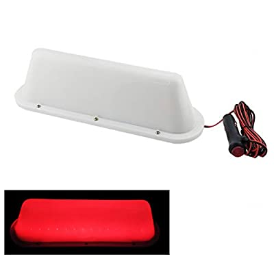 White Shell RED LED TAPE 12V Car Taxi Cab Roof Top Sign Light Lamp Magnetic with 3m Cigarette Lighter Power Cords: Automotive