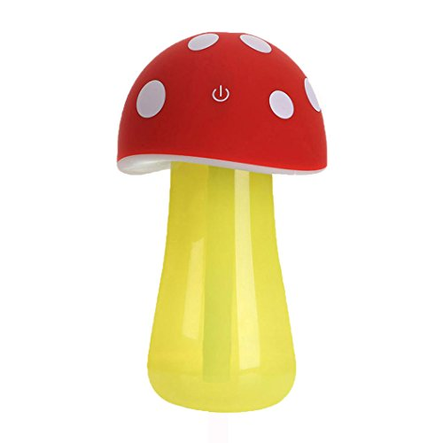 DEESEE(TM) Home Aroma LED Humidifier Mushroom Air Diffuser Purifier Atomizer New (Red)