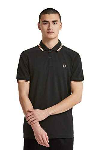 Fred Perry Men's Twin Tipped Polo Shirts, Black/Apricot Nectar, - Pique Fred Black Perry