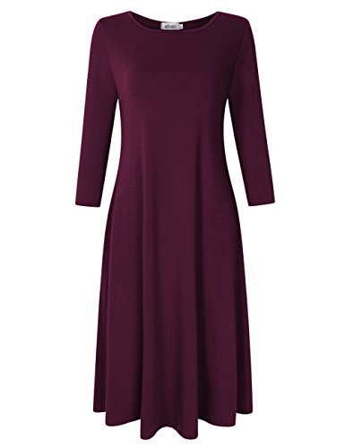 MISSKY Women 3/4 Long Sleeve Plus Size Pullover Pocket Loose Swing Casual Dresses for Women Burgundy M