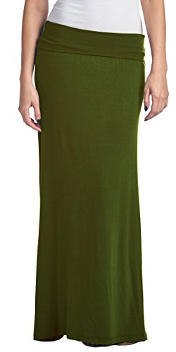 Popana Regular and Plus Size Comfortable and Versatile Maxi-Skirt 3X in Olive - Made in USA
