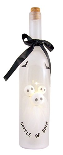 Bottle of Boos Ghosts Light Up LED 13 Inch Wine Bottle Halloween Tabletop Figurine