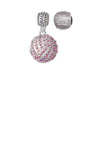 Large Super Sparkle Crystal Pink AB Volleyball Granddaughter Charm Bead with You Are More Loved Bead Set of 2