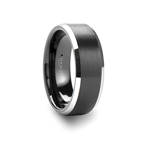 Thorsten Vulcan Black Tungsten Ring with Brushed Finish and Polished Edges 6mm Width from Roy Rose Jewelry