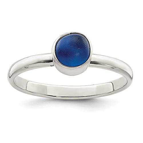 Glass Bezel Sea - 925 Sterling Silver Polished Blue Sea Glass Ring Size 8