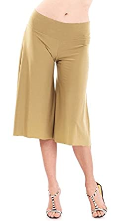Ladies Wide Leg Capri Pants Fold-Over Waist Band, Multiple Colors ...
