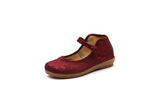 Jane Vintage Lazutom Kvinner Kinesisk Stil Mary Broderi Sko Flats Uformell Røde Dame 8w7q6
