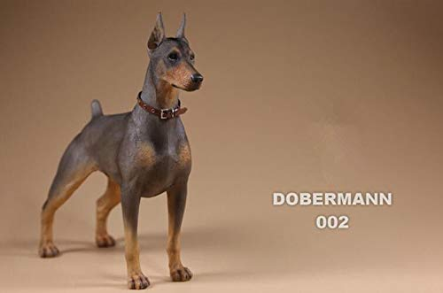 (FidgetGear Resin Dog Doberman Pinscher Hand Painted Simulation Model Figurine Statue Gray)
