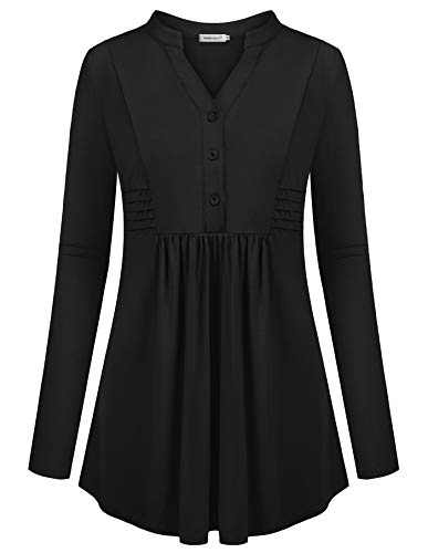 Helloacc Business Casual Clothes for Women,Notch Neck Pin Tuck Flattering Flowy Tunic Workout Top Dressy Classy Slim Fit Dress Shirts for Women Country No Pattern Empire Waist Rruffle Blouses Black L