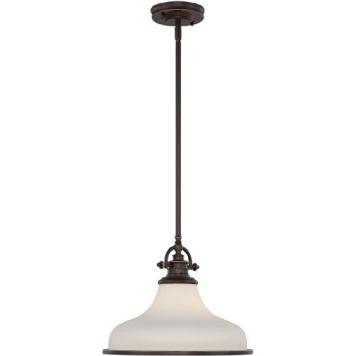 Pewter Finish Glass Pendant Lamp - Quoizel GRT2814PN Grant Vintage Pendant Lighting, 1-Light, 100 Watts, Palladian Bronze (12