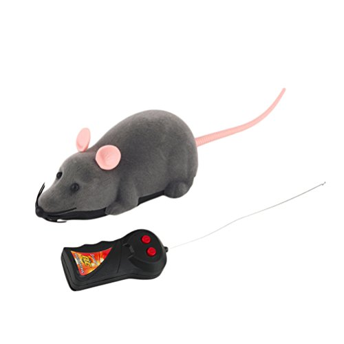ROSENICE Electronic Remote Control Rat Plush Mouse Toy for Cat Dog Kid (Gray)