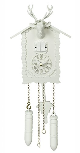 Trenkle Quartz Cuckoo Clock with Music and Deer Head, White TU 360/20 QM Weiss