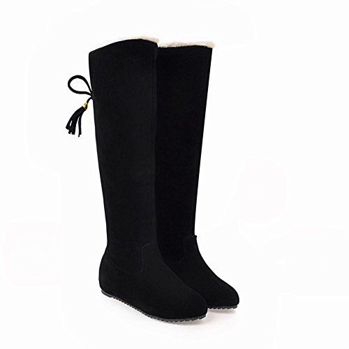 Mee Shoes Women's Warm Lace Up Flat Knee High Boots Black sS6mh