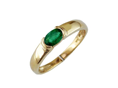(Milano Jewelers .45CT AAA Emerald 14KT Yellow Gold 3D Oval SEMI Bezel Anniversary Ring)
