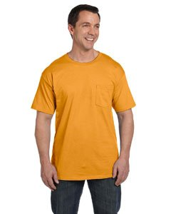Hanes Beefy-T Adult Pocket T-Shirt, Gold, L US (Chest 42-44) ()