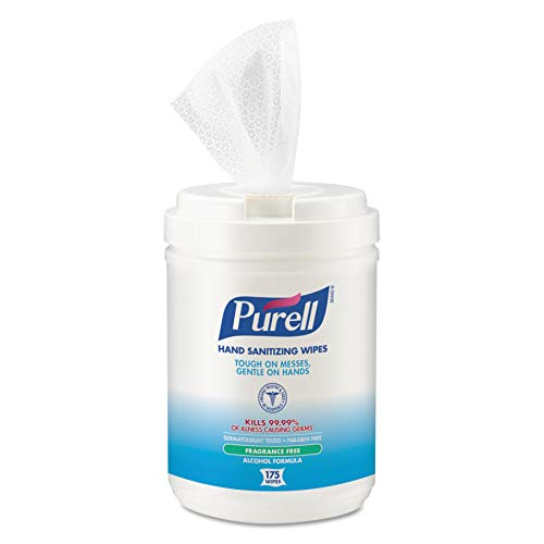 PURELL 903106 Premoistened Sanitizing Wipes, Alcohol Formulation, 6 x 7, White, 175 per Canister (Case of 6 Canisters) by Purell