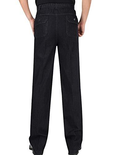 Vita Casual Abbigliamento Con denim Nero Denim Da Vintage Estivi Uomo A Gamba Elastico Pantaloni Dritta In 8X17qxn
