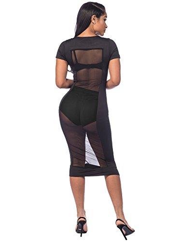 Women's Mesh Sexy 1 See Through Dress Black Floerns Pencil 6qXSd5qx
