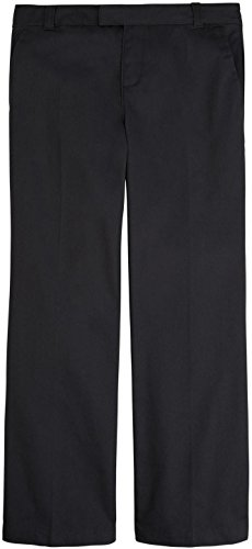 French Toast School Uniform Girls Adjustable Waist Flat Front Pants, Black, 12 ()