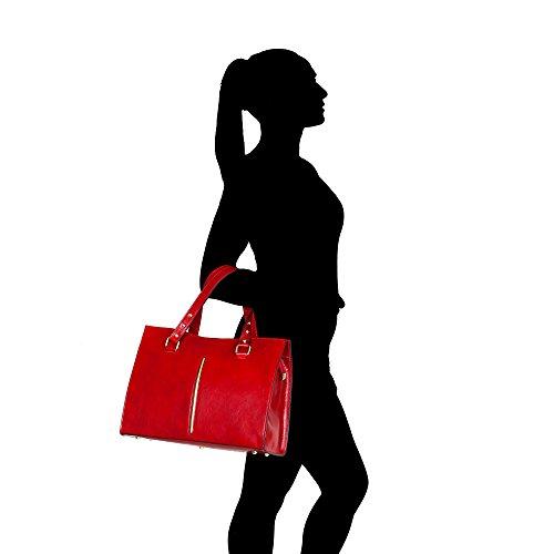 Borse Fabriqué véritable Chicca Sac en Cm main en Rouge Italie 38x27x12 femme à cuir xwfYTvUq