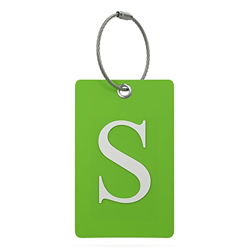 Luggage Tag Initial - Fully Bendable Tag w/ Stainless Steel Loop (Letter - Alphabet Tag
