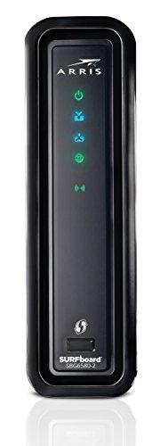 31VxUR9wKHL - ARRIS SURFboard SBG6580-2 8x4 DOCSIS 3.0 Cable Modem/Wi-Fi N600 (N300 2.4Ghz + N300 5GHz) Dual Band Router - Retail Packaging Black (570763-034-00)