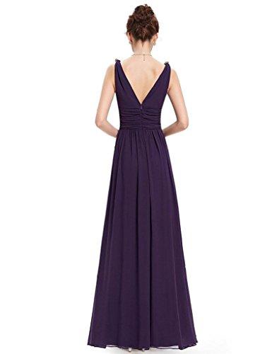 vestido de la cintura costura vestido halter con cuello en V sin mangas de las mujeres de temperamento Purple
