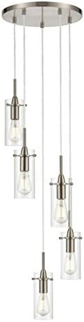 Effimero Multi Pendant Lighting for Kitchen Island Brushed Nickel Chandelier Cluster Pendant 5 Light Fixture LL-C45-1BN