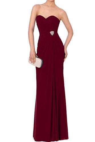 Herzform Ivydressing Weinrot Etui Elegant Neu Lang Promkleider 2017 Partykleider Abendkleider Chiffon 7E1qaw