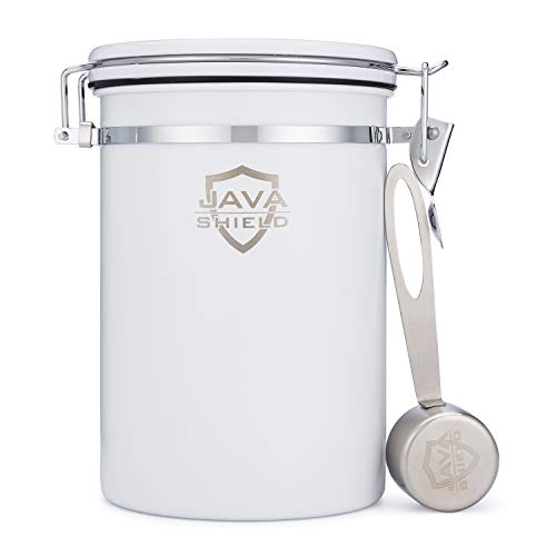 Java Shield White Coffee Container - Airtight Canister with co2 Valve for Freshness - Large Stainless Steel Container with Scoop - Keep Beans and Ground Coffee Fresh Longer - Built-In Calendar Wheel